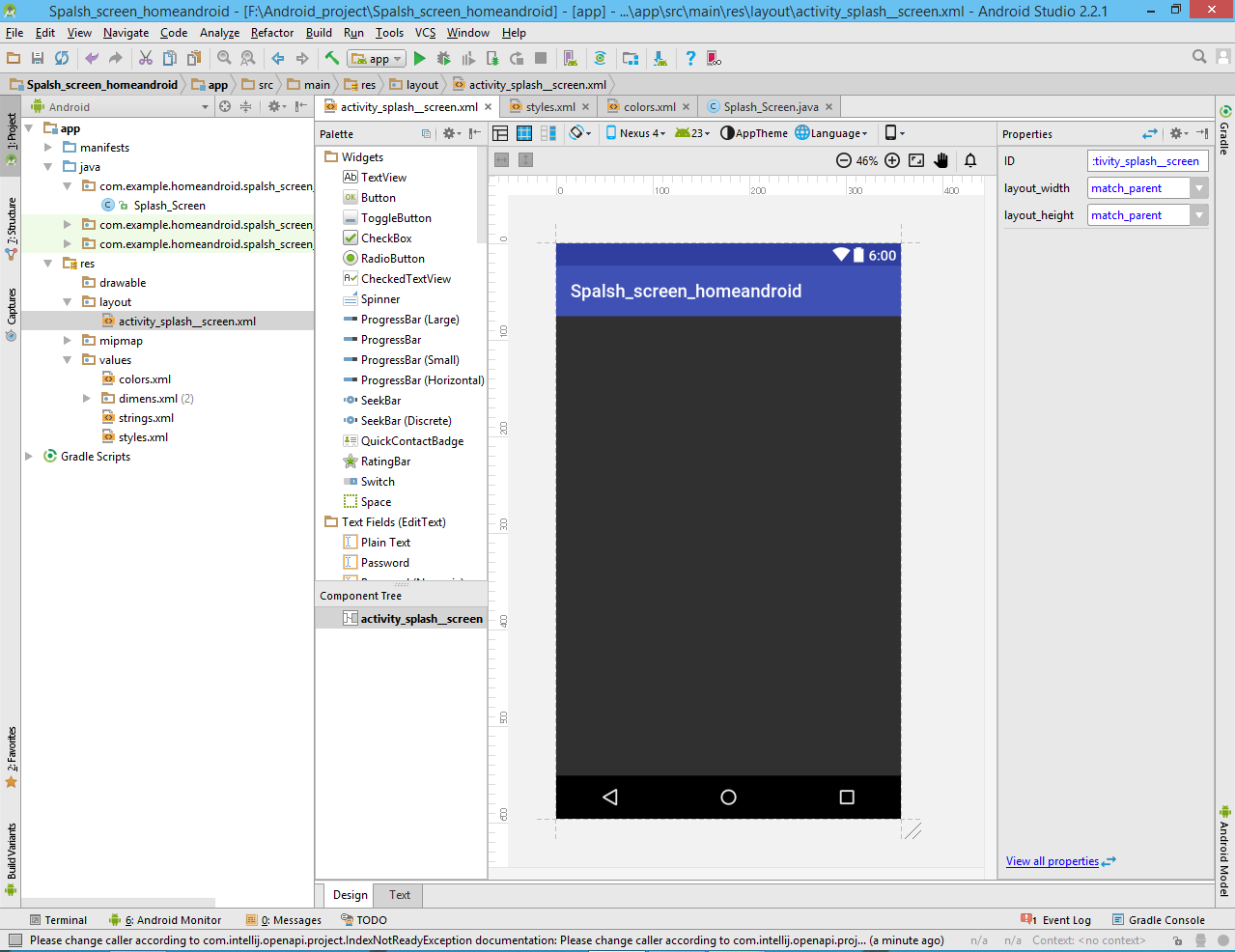Create layout android studio