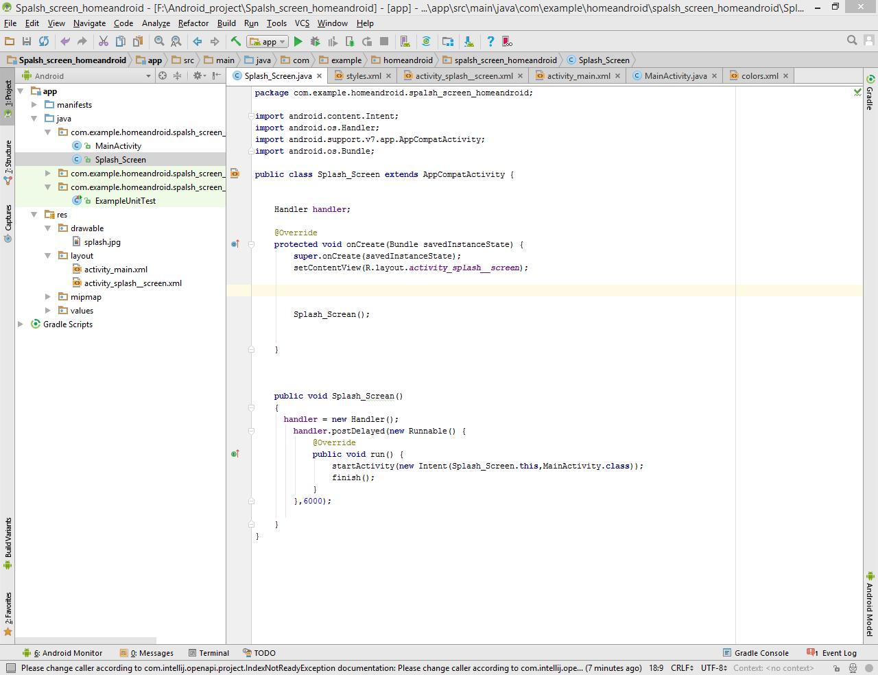 سورس کد اسپلس اسکرین