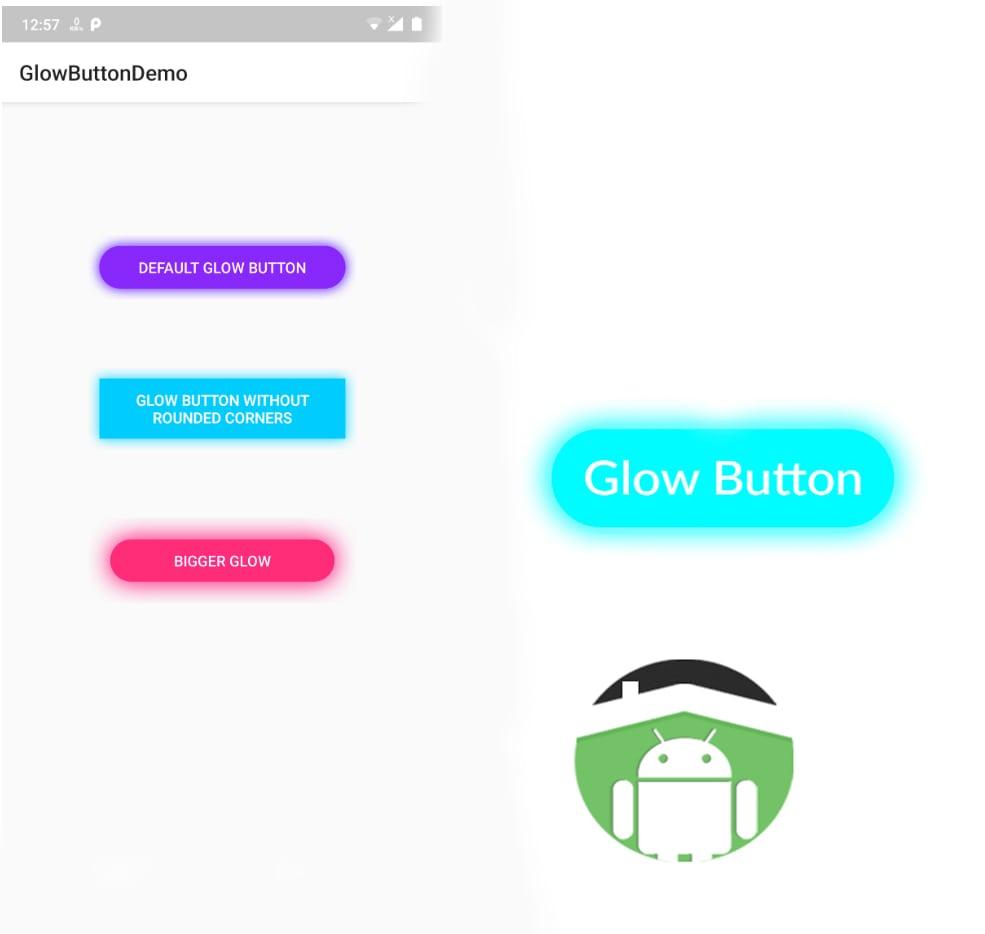 کتابخانه اندروید Glow Button